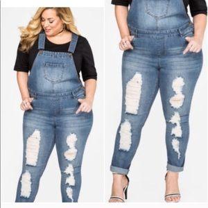 Ashley Stewart Denim Bib Overalls Jeans Distressed